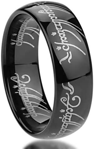 Double Accent 6MM Titanium Comfort Fit Wedding Band Laser Etched Old Letter Pattern Gold Tone Lord Rings 4 to 11