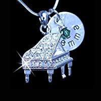Personalized Crystal Piano Charm Necklace | Piano Charm Jewelry |