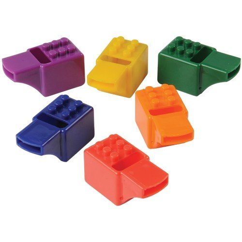 12 Colored Building Block Brick Whistles, Great Party Favors! By Blue Green Novelty