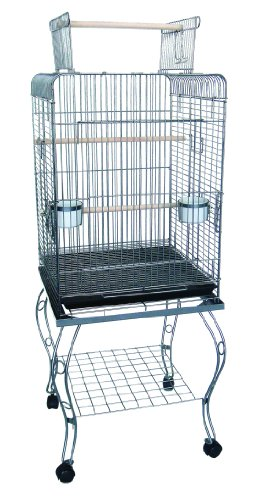 YML 24-Inch Open top Parrot Cage with Stand, Antique Silver, My Pet Supplies