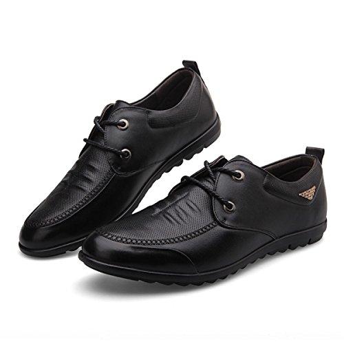 Homme GRRONG Pour Véritable Cuir Chaussures Entreprise En Black De Loisirs Noir Cuir Brun En SqSIfaw