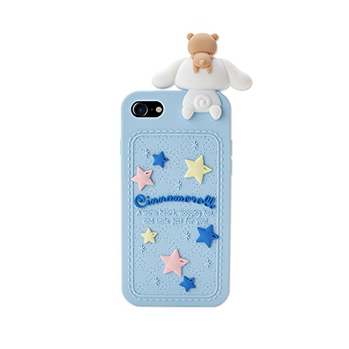 Blue Dog Puppy Luxury Designer Soft Silicone Rubberized 3D Cartoon Case for iPhone 7 8 iPhone7 iPhone8 Cute Lovely Fresh High Fashion Kawaii Cool Japanese Gift for Teens Little Girls Women Cinnamoroll