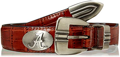 ZEP-PRO NCAA Alabama Crimson Tide Men's Crocodile Leather Concho Tapered Tip Belt, Tan, 46