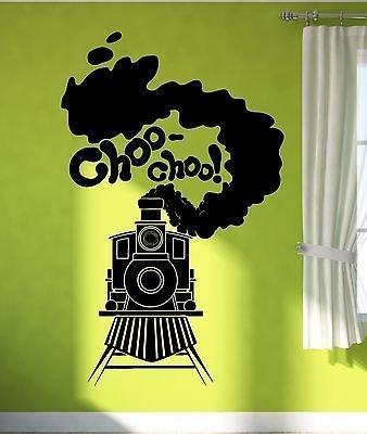 (Wall Sticker Vinyl Decal Train Railway Steam Locomotive for Kids Room VS1900)