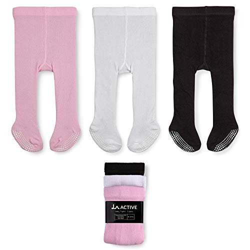 LA Active Baby Tights - 3 Pairs - Non Skid/Slip Cotton (Pink/White/Black, 6-12 Months)