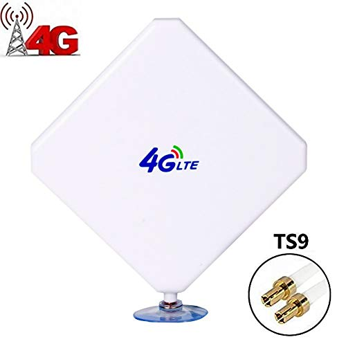 Aigital 4G LTE Antenna TS9 Antenna 35dBi High Gain Long Range Network Antenna with Suction Cup and 2m Extension Cable for 4G WiFi Router Mobile Hotspot Outdoor Signal Booster TS9 Male Connector