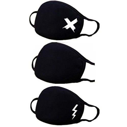 Muffle Mask Anti-Dust Anime Mouth Mask Cute Kaomoji Face Emoticon Earloop Cotton Surgical Mask for Kids Men and Women (Black 3 A) by QIN JU