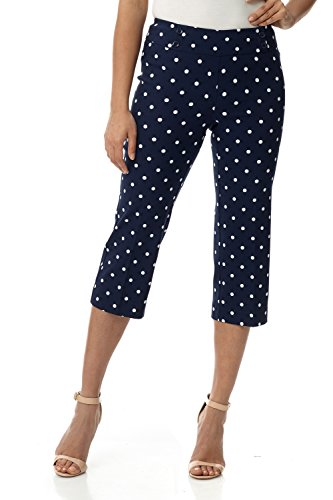 Rekucci Women's Ease in to Comfort Fit Capri with Button Detail (4,Navy/Ivory Dot)