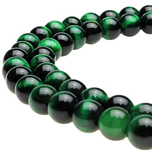 JARTC Rare Collection Natural Stone Beads Green Tigereye Round Loose Beads for Jewelry Making DIY Bracelet Necklace (8mm)