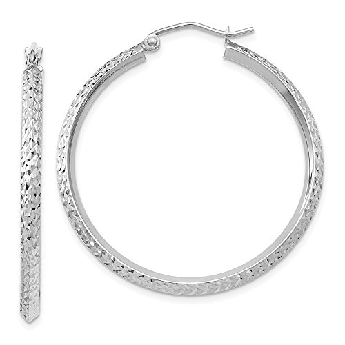 2.5mm, 14k White Gold Knife Edge Diamond Cut Hoops, 35mm (1 3/8 Inch)
