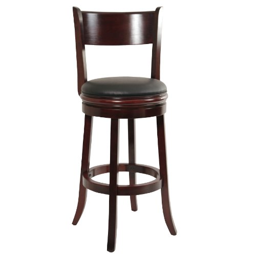 Boraam 44129 Palmetto Bar Height Swivel Stool, 29-Inch, English Tudor Antique Wooden High Chair