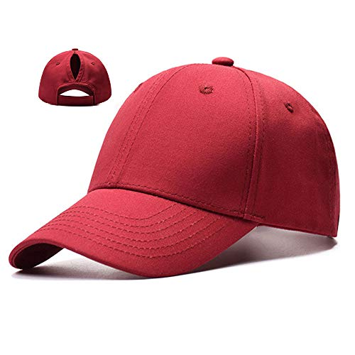 OUTER Ponytail Baseball Cap Hat Adjustable Outdoor Sports Cap Hat for Women Famale Girls (Red)