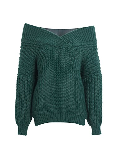 Green Sweater Simplee Pullover Batwing Apparel Army Women's Shoulder Off Winter Sleeve qxCO6qv