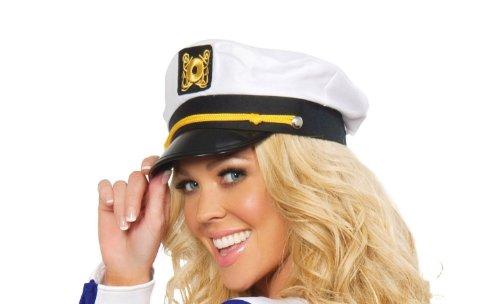 Roma Costume Sailor Captain Hat Costume, White, One Size -