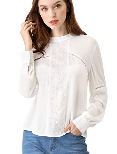 Allegra K Women's Embroidery Floral Peasant Blouse Crew Neck Boho Shirts Tops M Off White