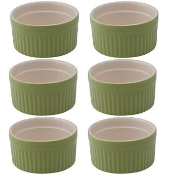 Molde para horno de cerámica de la señora Anderson 2-Ounce Ramekin, juego de 6, verde por HIC Harold Import Co.: Amazon.es: Hogar