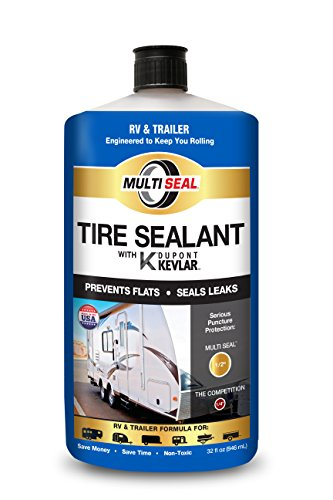MULTI SEAL 20140 Tire Sealant with Kevlar (RV & Trailer Formula), Great for Travel Trailers, Boat Trailers, Horse Trailers, Toy Haulers, Cargo Trailers, Utility Trailers and more, 1-Pack (32 - Sealant Tire Liquid