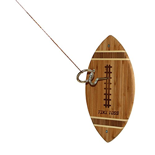Tiki Toss Hook and Ring Toss Game Football Edition - 100% Bamboo Party Game for Indoor or Outdoor Family Fun (All Parts Included)]()