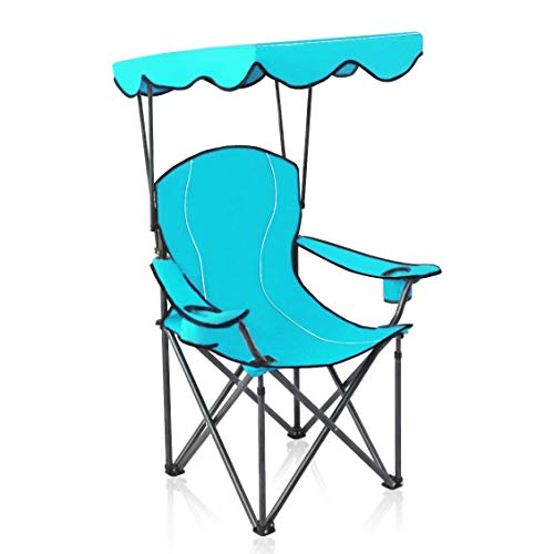 ALPHA CAMP Portable Camping Chair Folding Quad Chair with Adjustable Shade Canopy and Carry Bag Cobalt Blue