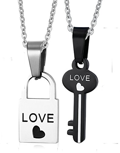 Viking Costume Walmart (Gnzoe 2Pcs Men Women Necklace Stainless Steel Lock Key Pendant Love Chain Puzzle 1 pcs)