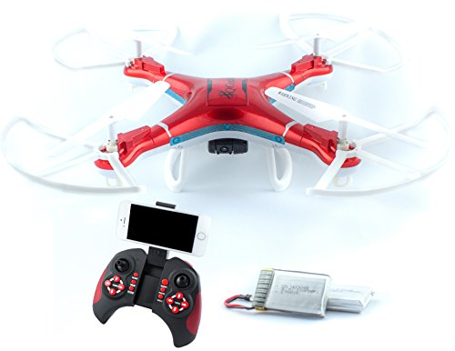 QCopter Drone Quadcopter w/HD FPV Wifi Camera BONUS Battery and Crash Kit Included; (RED)