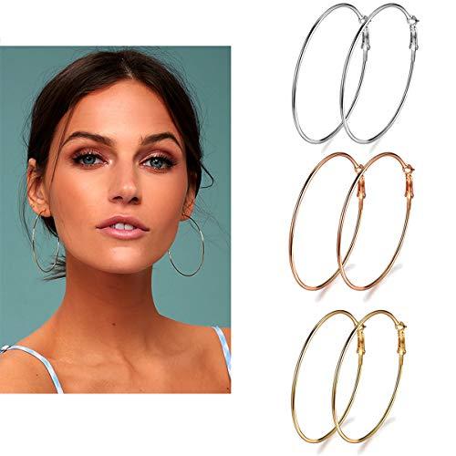 3 Pairs Big Hoop Earrings, Stainless Steel Hoop Earrings in Gold Plated Rose Gold Plated Silver for Women Girls (60mm) (E Earrings)