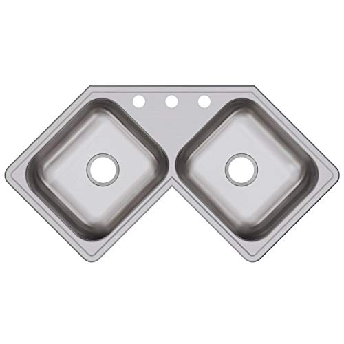 (Dayton DE217323 Equal Double Bowl Corner Stainless Steel Sink)