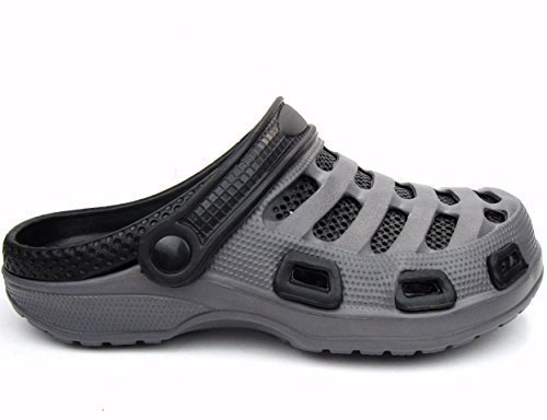 Men's Garden Clogs Shoes Slip-On Casual EVA Two-Tone Lightweight Slipper Sandals (11 D(M) US, Dark Gray/Black)