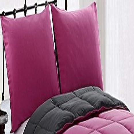 Pink//Grey BH/&B INTERNATIONAL INC Cozy Beddings Comforter Set BH1159-4K Box Stitch Bed Cover Reversible Down Alternative