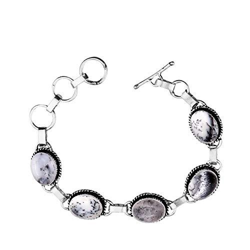 Genuine Oval Shape Dendrite Opal Link Five Stone Bracelet 925 Silver Overlay Handmade Vintage Bohemian Style Jewelry for Women Girls