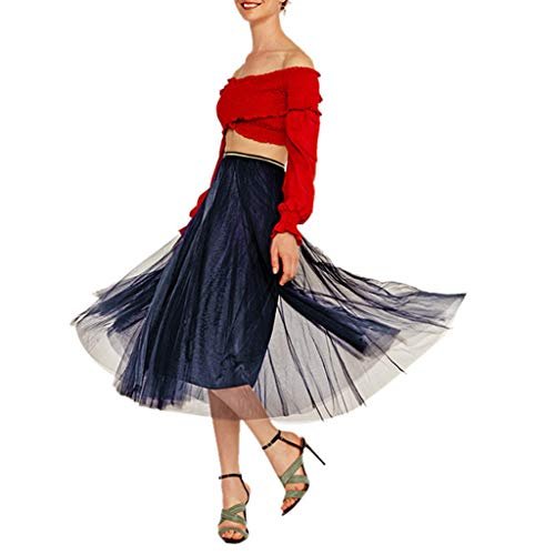 - Zlolia Solid Color Tulle Chiffon Pleated Swing A-Line Skirt for Women High Waist Stretch Casual Midi Skirt Navy