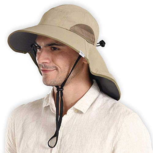 Outdoor Boonie Sun Hat for Men & Women - Wide Brim Fishing Hat with Neck Flap for Sunburn & UV Protection - Bucket Hat for Hiking, Boating, Camping, Beach & Safari - Moisture Wicking & Breathable Mesh
