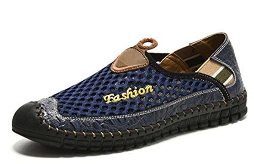Hechos De Para Verano Hombres Mano Suaves Zapatos Transpirable Deporte Zapatillas Botia Mocasines Azul Malla Conducción Cómodo A YUqI5wOx