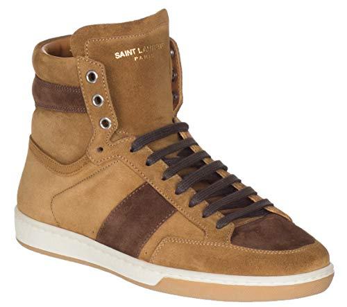Saint Laurent Men's Tan Brown Suede High Top Sneakers Shoes, Brown, US 6 / EU 39 (Yves St Laurent Shoes)