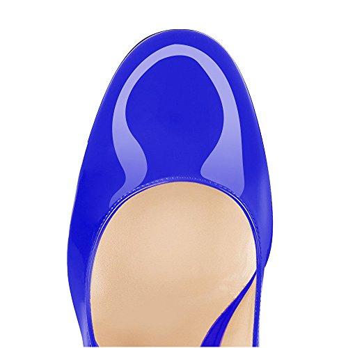 Blue Scarpe Tacco Tallone da Tacco Scarpe Punta con uBeauty Blocco Scarpe Col 100MM di Col Blocco Donna Rotonda Scarpe a Tacco qRpO4
