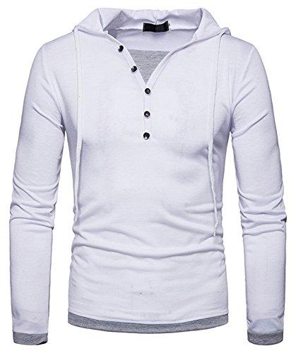 Whatlees Longues Pull À Homme Capuche B925 blanc Avec Manches Sweat Shirt SqrSnw14
