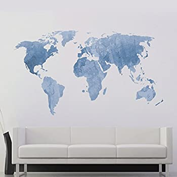 Amazon decalmile blue world map wall sticker murals removable decalmile blue world map wall sticker murals removable vinyl modern wall decals for kids bedroom living gumiabroncs Choice Image