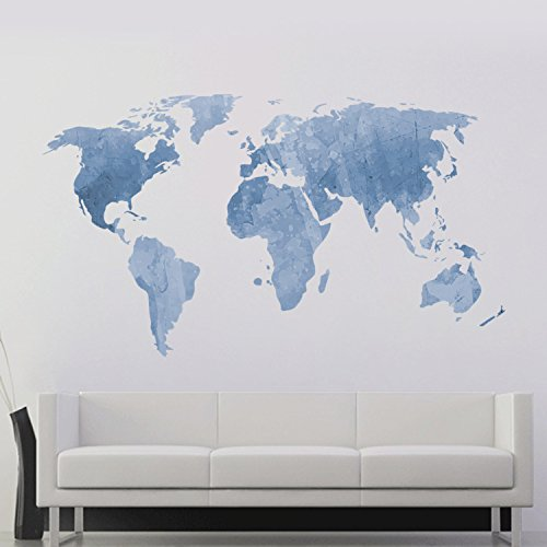 DecalMile Blue World Map Wall Sticker Murals Removable Vinyl Modern Wall Decals For Kids Nursery Bedroom Living Room