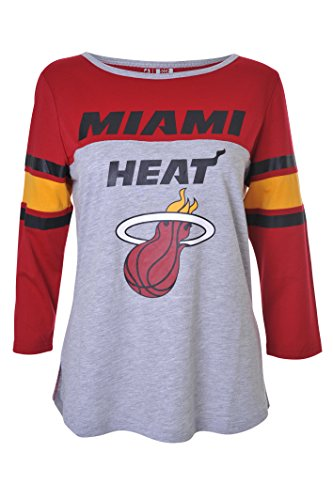 NBA Women's Miami Heat T-Shirt Raglan Baseball 3/4 Long Sleeve Tee Shirt, X-Large, Maroon Miami Heat Shirts