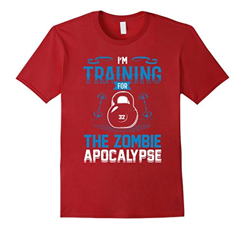 Apocalypse Themed Costume (Mens I'm Training For The Zombie Apocalypse Workout T-Shirt 2XL Cranberry)