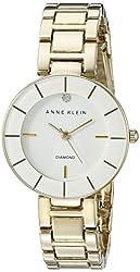 Anne Klein Women's AK/2080WTGB Diamond-Accented Gold-Tone Bracelet Watch