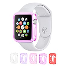 Eco-Fused TPU Case Bundle for 38mm Apple Watch / Watch Sport / Watch Edition / Including 5 Flexible TPU Cover Cases for all Apple Watch Versions / Including Microfiber Cleaning Cloth
