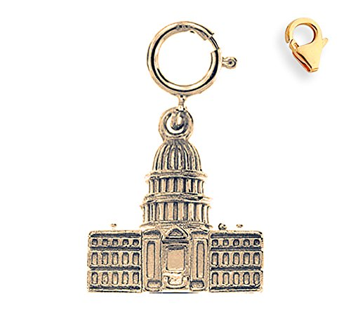 Jewels Obsession White House Charm | 14K Yellow Gold United States Capital Building Charm Pendant - 18mm