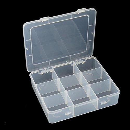Farway 2pcs Plastic Storage Box Case Parts Organizer Clear Adjustable Slot  Bin Jewelry Tool Container (9 Compartments)