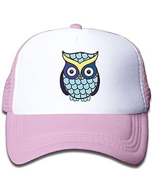 Mesh Baseball Cap Snapback Hats Funny Blue Owl Boys-Girls