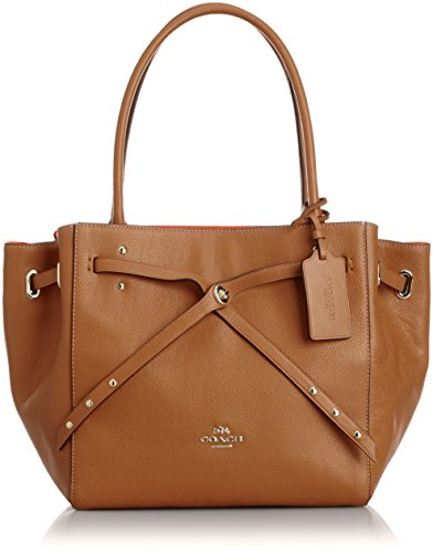 COACH Refined Pebble Leather Small Turnlock Tie Tote in Light Gold/Saddle Tan/Watermelon - Leather Gathered Bag Hobo