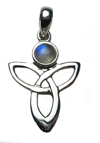 Rainbow Angel Moonstone Pendant Sterling Silver