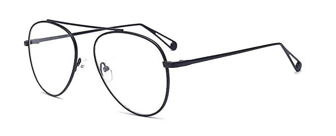 d980b9d07f0b ALWAYSUV Classic Tear Drop Wire Metal Full Black Frame PC Clear Aviator Lens  Unisex Glasses