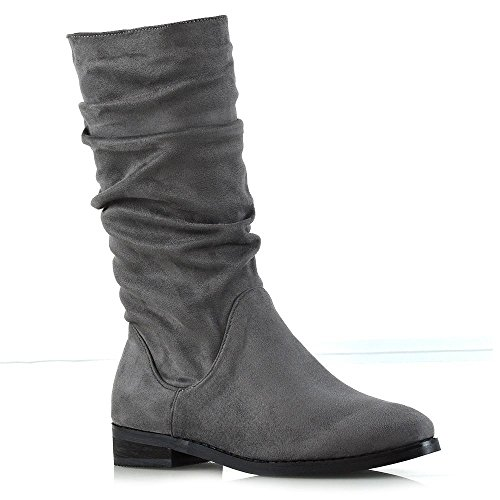 Grey Faux Shoes Faux Suede Winter ESSEX GLAM Rouched Ladies Boots Womens Mid Slouch New Calf Casual Suede A0OqFw6A