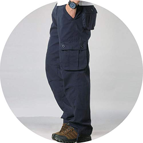 - Ting room Men's Cargo Pants Mens Casual Multi Pockets Military Tactical Pants Men Long Trousers,Dark Blue,32